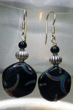 Boucles d'oreilles noires japonisantes