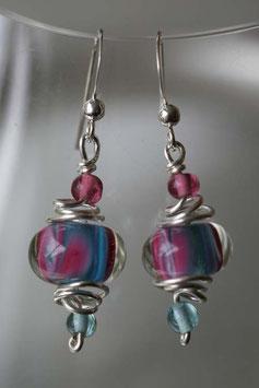 Boucles d'oreilles en verre rose et bleu