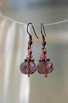 Boucles d'oreilles facettes violet translucide et cuivre