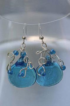 Boucles d'oreilles à palet bleu