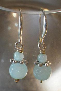 Boucles d'oreilles opalescentes verre bleu ciel