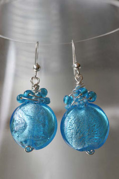 Boucles rondes et plates bleu turquoise vif