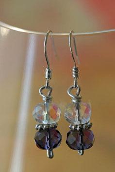Boucles d'oreilles verre à facettes cristal et violet