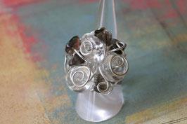 Bague en cristal de roche et quartz fumé