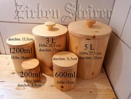 Aufbewahrungsdosen, Vorratsbehälter Salztigel aus Zirbenholz