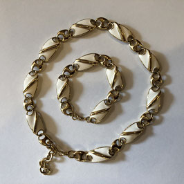 White Lucite and Gold Choker and Bracelet by Monet,