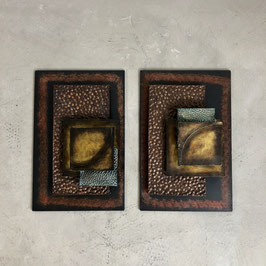 Set Of 2 Brutalist Mixed Metal Wall Decoration
