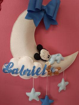 Fiocco nascita topolino luna, nuvola, stelle