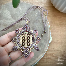 NEU Flower of LIfe Kette taupe