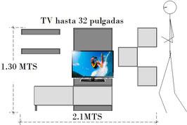 Mueble panel de pared entretenimiento y ambientación social