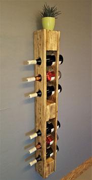 Weinflaschenregal groß, geflammt weiß oder natur, 120 x 14 x 14, Platz für 6 Flaschen, individualisierbar