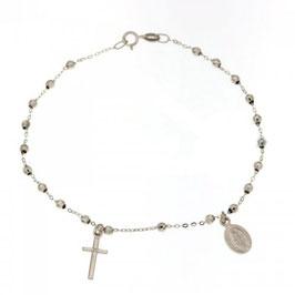 Bracciale Rosario in oro bianco con Madonna Miracolosa