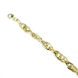 Bracciale donna oro giallo18 kt catena con maglie ovali lucide e godronate codice: BR936G