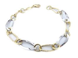Bracciale da donna a catena maglia ovale bicolore in oro 18 kt IS986GB