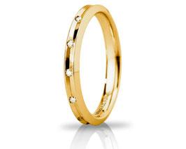 Fede Nuziale Unoaerre Corona in Oro Giallo Slim con 8 diamanti Referenza 30AFC278/008