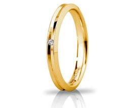 Fede Nuziale Unoaerre Corona in Oro Giallo Slim con diamante Referenza 30AFC278/001