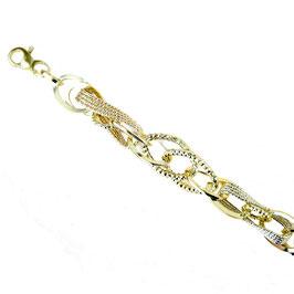 Bracciale donna oro 18kt  con maglie lucide martellate e godronate tre ori codice: BR932bgr