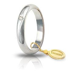 Fede Unoaerre Classica gr 5,0 Oro Bianco con diamante 50 AFN 1/001