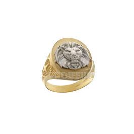 Anello da uomo  in oro giallo e bianco 18 kt a scudo leone codice: 803321737457