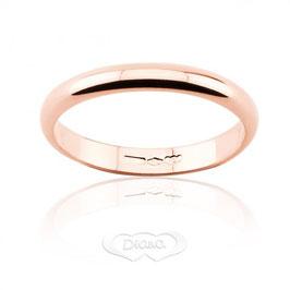 Fede Nuziale classica diana in oro rosa grammi 3 - Referenza: F3NOR