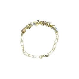Bracciale donna tre ori  oro 18 kt con maglie tonde e ovali lucide codice: BR980BGR