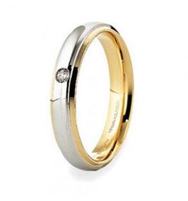 Fede Nuziale Unoaerre Cassiopea Con Diamante In Oro Bianco e Giallo Referenza 70AFC282/001