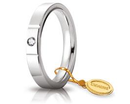 Fede Nuziale Unoaerre Cerchi di Luce 3,5 mm Oro bianco con diamante Gr. da 5.50 a 7.70 Referenza: 35 AFC 2/100B