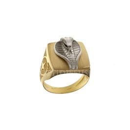 Anello da uomo  in oro giallo bianco 18 kt a scudo con cobra