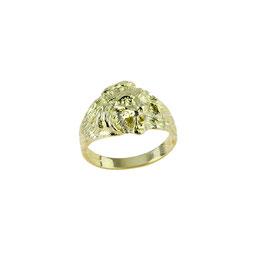 Anello da uomo in oro giallo testa di leone 18 kt