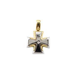 Croce maltese con brillantino in oro bicolore Referenza: IS1465BG