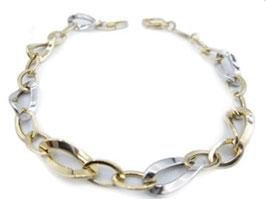 Bracciale da donna a catena maglia ovale bicolore in oro 18 kt IS987GB