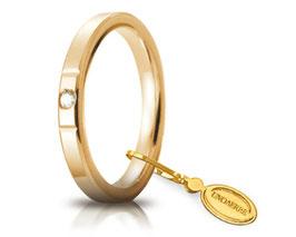 Fede Nuziale Unoaerre Cerchi di Luce 2,5 mm Oro giallo con diamante Gr. da 3,70 a 5,10 Referenza: 25 AFC 2/100