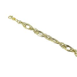 bracciale catena con maglie ovali lucide e con finitura godronata alternate largo 10 mm codice: BR925G