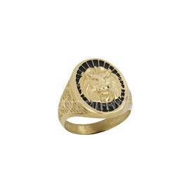 Anello da uomo  in oro giallo  18 kt a scudo leone