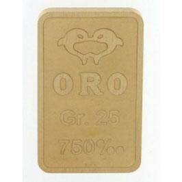 Lingotto in oro 750/00 18 kt da 25 grammi