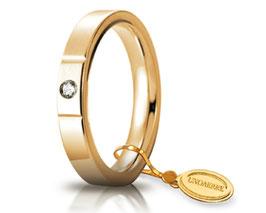 Fede Nuziale Unoaerre Cerchi di Luce 3,5 mm Oro giallo con diamante Gr. da 5.50 a 7.70 Referenza: 35 AFC 2/100