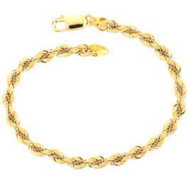 Bracciale donna in oro giallo 18 kt maglia a fune