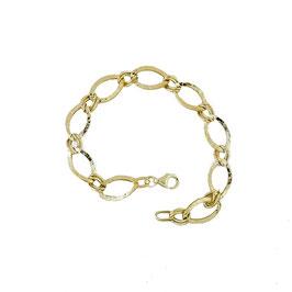 Bracciale donna oro 18 kt catena con maglie ovali martellato codice: BR924G