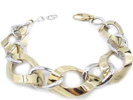 Bracciale da donna a catena maglia ovale bicolore in oro 18 kt IS978GB