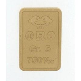 Lingotto in oro 750/00 18 kt da 5 grammi