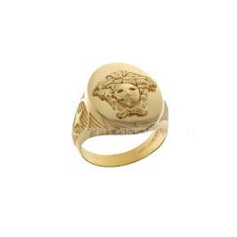 Anello da uomo  in oro giallo 18 kt a scudo con medusa