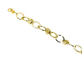 Bracciale donna oro 18 kt catena con maglie ovali lucide e godronate codice: BR935G