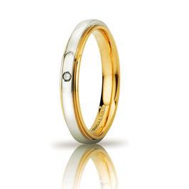 Fede Nuziale Cassiopea Slim con diamante 3mm Oro giallo bianco Referenza 50AFC282/001