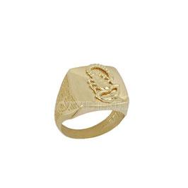 Anello da uomo  in oro giallo 18 kt a scudo scorpione