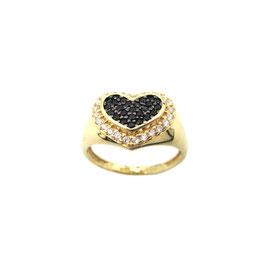 Anello Chevalier con cuore e pietre in oro giallo IS2712DF