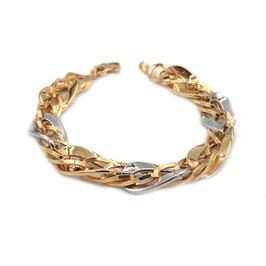 Bracciale in oro Bicolore 18kt donna maglie ovali lucide ritorte codice: OV973G