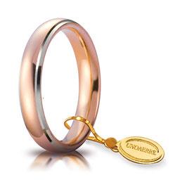 Fede Unoaerre  Comoda 4,0 mm Oro rosa e bianca bordi rodiati da gr 5,7 a 6,7 40 AFC 1/010
