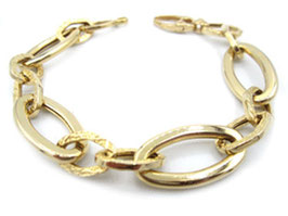 bracciale donna in oro giallo 18 kt maglie lucide e decorate codice: IS999G