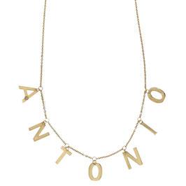 Collana con lettere pendenti e brillantini in oro giallo 18kt referenza: 803321737212