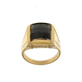 Anello da uomo  in oro giallo 18 kt con pietra nera codice: 803321715351